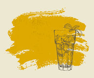 Long island iced tea cocktail on orange background Stock Photography