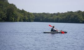 Long island new york fishing on kayak Royalty Free Stock Photography