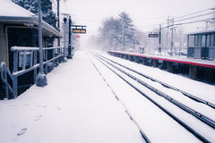 LONG ISLAND RAILROAD WINTER Royalty Free Stock Image
