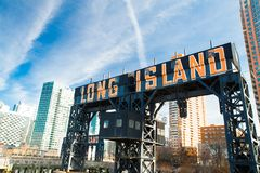Long Island Sign Queens NYC. Historic Long Island sign seen from Gantry State Park in Long Island City, Queens New York stock photo