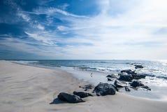 Long Island strand i November Arkivbilder