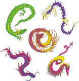 Long japanese dragon worms Royalty Free Stock Images