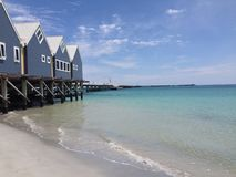 Long jetty with beach houses and shallow water. A wooden jetty stretches off into the distance in Busselton, Australia. There are some blue beach houses on the royalty free stock photography