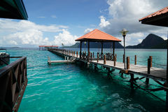 Long jetty at Bohey Dulang, Semporna, Sabah Stock Photos