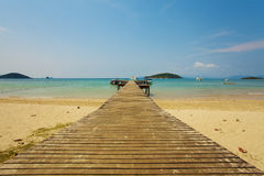 Long jetty. Resort wooden jetty long to the ocean texture Royalty Free Stock Photography