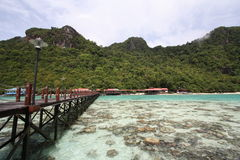 Long jetty in semporna island. Jetty view during sunny day at bohey dulang island semporna sabah Royalty Free Stock Images