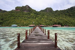 Long jetty in semporna island. Jetty view during sunny day at bohey dulang island semporna sabah Stock Photography