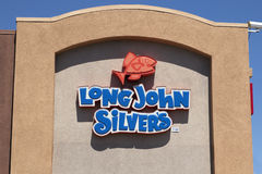 Long John Silver's Fast Food Restaurant. International franchise chain fish and seafood food Long John Silver's restaurant sign Royalty Free Stock Image