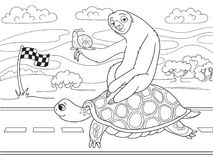 Long Journey, speed. Three friends went on a long trip. Sloth and snail riding a turtle. Vector cartoon coloring book Stock Photos