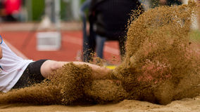 Long jump. In track and field Stock Photography