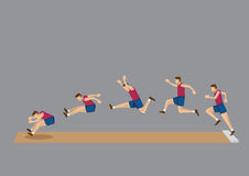 Long Jump in Action Sequential Vector Icons Royalty Free Stock Images