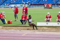 Long jump athlete. At Diamond League in Rome, Italy in 2016 stock image