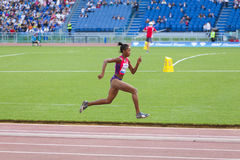 Long jump athlete. At Diamond League in Rome, Italy in 2016 royalty free stock photo