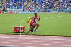 Long jump athlete, prepearing to jump. Long jump athlete at Diamond League in Rome, Italy in 2016 stock photography