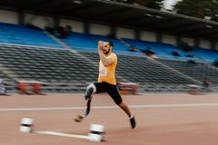 Long jump athlete disabled amputee stock image