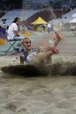 Long jump athlete. Female athlete performing during long jump discipline at Romanian International Atheltics Championship, Stefan cel Mare Stadium, Bucharest Stock Images