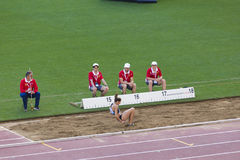 Long jump athlete. At Diamond League in Rome, Italy in 2016 royalty free stock image