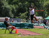 Long Jump Attempt Stock Photo