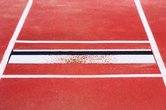 Long jump. Bar where the long jumpers jump off Royalty Free Stock Image