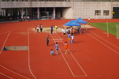 Long jump competition. The long jump competition activity, in Baoan Sports Center, Shenzhen, china Royalty Free Stock Photo