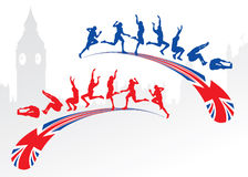 Long jump with Great Britain flag Stock Photos