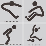 Long jump icons Stock Photos