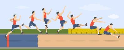 Long jump illustration. Man shows how to triple jump vector illustration