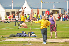 Long jump at Nairn. Long jump competition at Nairn Highland Games held on 17th August 2013 Stock Image