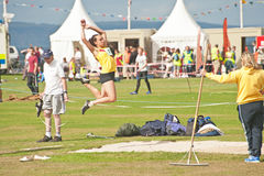 Long jump at Nairn. Long jump competition at Nairn Highland Games held on 17th August 2013 Stock Images
