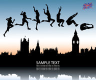 Long jump over London city. Vector illustration of jumpers and London Vector Illustration