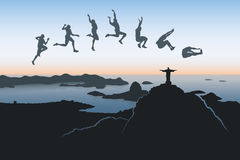 Long jump over Rio De Janeiro. Vector illustration of jumpers with Rio De Janeiro in background Royalty Free Illustration