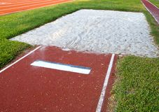Long jump pit closeup Stock Image
