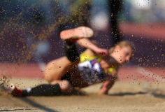 Long jump with sand on focus Stock Image