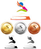 Long jump and sport medals Stock Photos