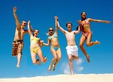 Long jump together Stock Photos