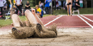 Long jump. In in track and field Royalty Free Stock Photos