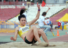 Long Jump Woman Athlete Stock Photography