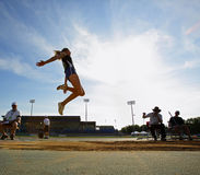 Long Jump Woman Sky Blue Royalty Free Stock Photos