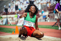 Long jumper, Special Olympics World Games 2015. Mikasja Kwasie of Suriname took home gold in the long jump at the Special Olympics World Games in L.A. in 2015 stock photo