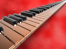Long keyboard piano on red background.jpg Stock Photos