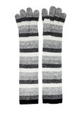 Long knitted woolen gloves gray stripes Royalty Free Stock Images