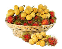 Long Kong and rambutan On A White Background. Tropical Fruit, Long Kong and rambutan On A White Background Stock Images