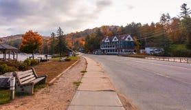 Long Lake, NY, Adirondacks, October 9, 2018: Adirondack Hotel at Sunrise in the fall. Along Route 30 royalty free stock photos