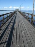 Long landing-stage. A long dock at the lake Siljan stock image