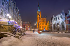 Long lane in the old town of Gdansk, Poland. Long lane in the old town of Gdansk in snowy winter, Poland Royalty Free Stock Image