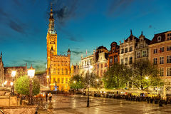 The Long Lane street in Gdansk at night Royalty Free Stock Images