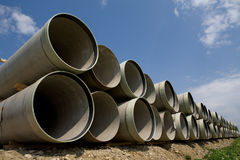 Long large pipes royalty free stock image