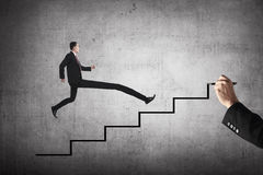 Long leg business person jump to the highest stair Stock Photo