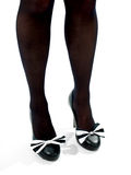 Long Legs in black stockings high heel shoes Royalty Free Stock Photography