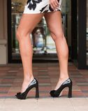 Long legs and high heeled shoes Royalty Free Stock Photography